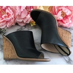 ZARA Black Cork Slip on Wedges Size:9